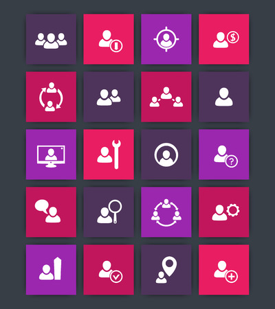 account management: Human resources icons, hrm, personnel management, login sign, account symbol, login pictogram, square icons, vector illustration