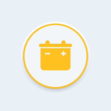 accumulator: accumulator, battery round icon, battery pictogram, accumulator symbol, vector illustration