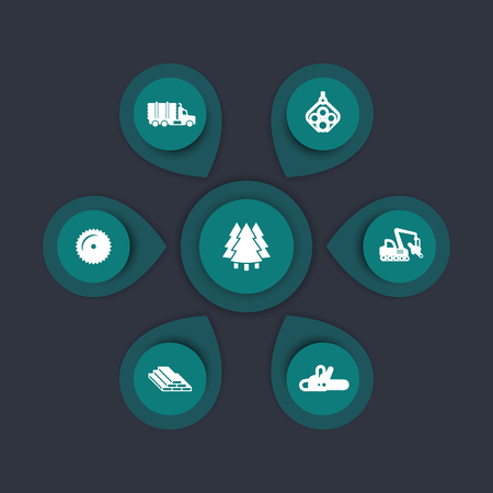 logging: Logging industry icons, timber, logging truck, tree harvester, wood, lumber, logging equipment, timber infographic elements, icons, vector illustration Illustration
