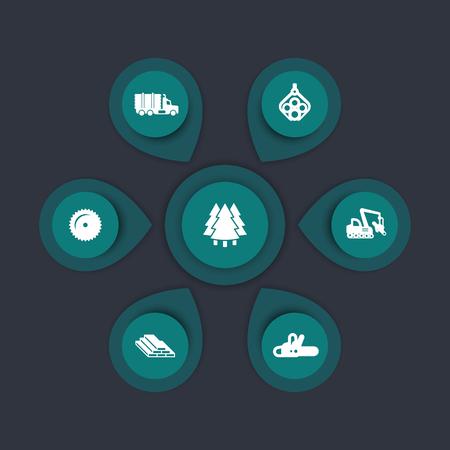 harvester: Logging industry icons, timber, logging truck, tree harvester, wood, lumber, logging equipment, timber infographic elements, icons, vector illustration Illustration