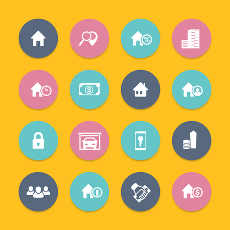 occupant: Real estate icons, house sale, apartments, search, houses for rent, real estate pictograms, round flat icons, vector illustration