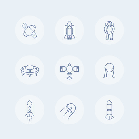 spaceflight: space line icons, satellite, astronaut, space shuttle, spaceship, spacecraft icon, space pictograms, vector illustration Illustration
