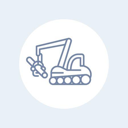 timber: Forest harvester line icon, timber harvesting machine, tree harvester, vector illustration