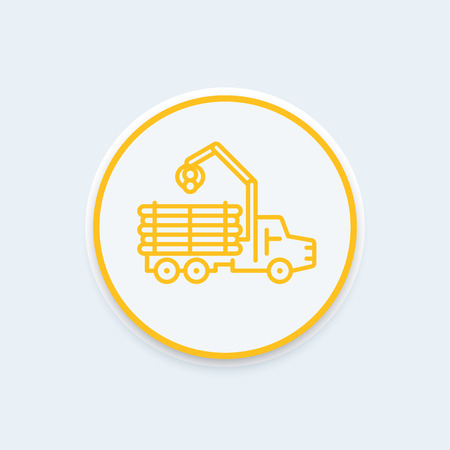 logging: Forwarder line icon, lorry, forestry vehicle, logger, logging truck icon, vector illustration