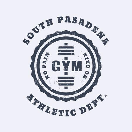 apparel: Round vintage gym logo, emblem, t-shirt design, print, gym logo template, vector illustration Illustration