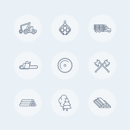 logging: Logging line icons, forestry, timber, tree harvester, logging truck, truck with timber icons set, vector illustration