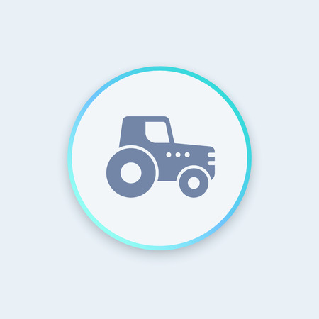 agricultural: Agrimotor, tractor icon, agrimotor symbol, agricultural machinery sign, tractor round stylish icon, vector illustration Illustration
