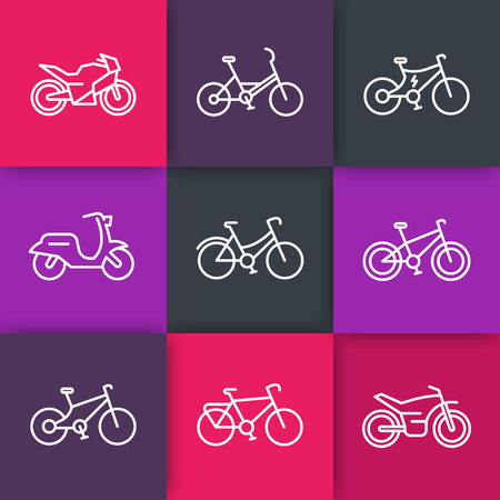 Bikes line icons, cycling, bike, motorcycle, motorbike, fat bike, scooter, retro bike, electric bike, icons on color squares, vector illustration Illustration