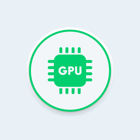 the unit: GPU icon, graphics processing unit sign, gpu pictogram, graphics chipset round icon, illustration
