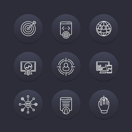 indexing: seo line icons, search engine optimization, internet marketing, website indexing, seo tools dark icons set, web page indexing Illustration
