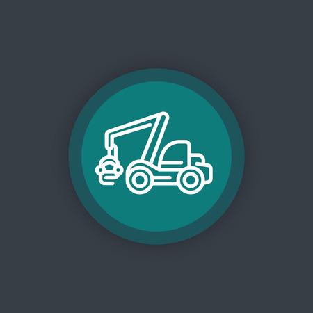 timber harvesting: Forest harvester line icon, timber harvesting machine sign, round flat icon, illustration Illustration