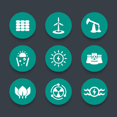 green power: Power, energy production round green icons, energetics, different sources of energy, solar, wind, nuclear energetics, illustration