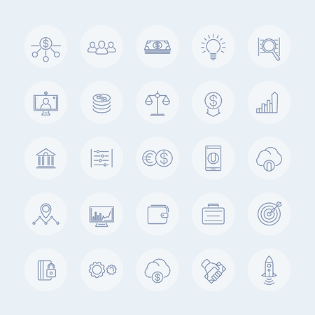 hedge: Venture capital line icons, investments, start-up, forex, hedge fund, capital, startup company round isolated icons, illustration