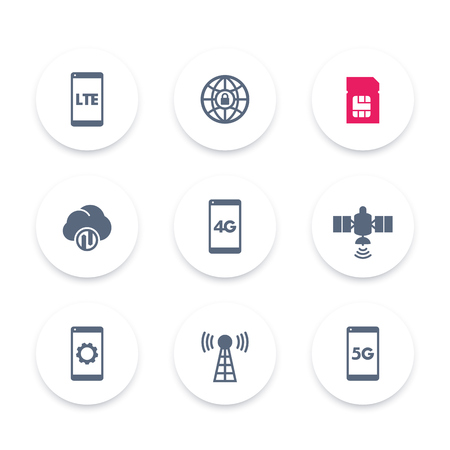 wireless technology icons set, 4g network pictogram, lte icon, mobile communication, connection signs, 4g, 5g mobile internet, illustration