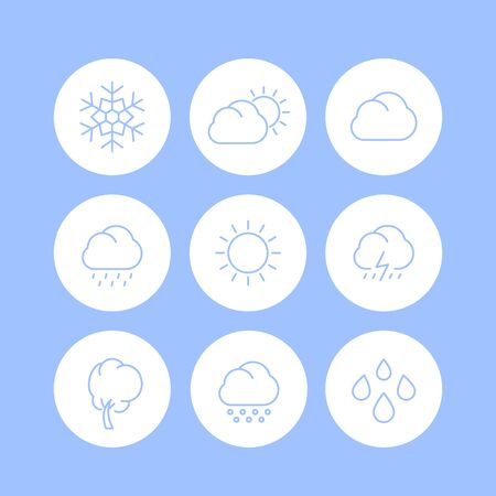 cloudy day: Weather line icons, sunny, cloudy day, rain, snowflake, hail, wind, sun, snow round isolated icons, illustration Illustration