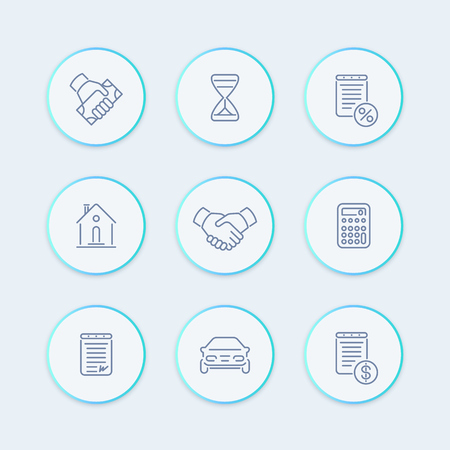 car bills: Leasing line icons, banking, loan, assets, pictograms, round icons set, illustration Illustration