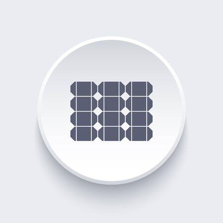 power system: Solar panel icon, solar energy sign, solar power system icon on round 3d shape, illustration