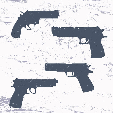 handgun: revolver, pistol, gun, handgun silhouettes,illustration Illustration