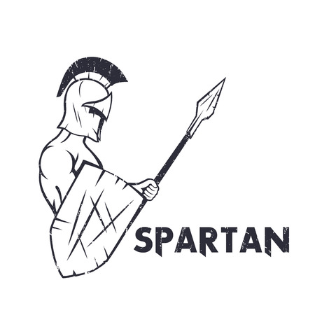 sparta: spartan warrior with spear and shield isolated on white, ancient warrior in helmet holding pike, illustration