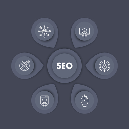 indexing: seo infographics template design, search engine optimization, internet marketing, web page indexing, seo tools linear icons Illustration
