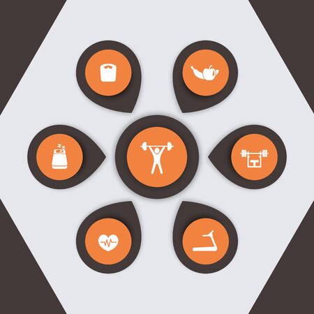 aspects: aspects of gym training, fitness, infographics elements, modern icons,  illustration
