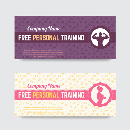 personal training: Free personal training, gift voucher design for gym, fitness club, illustration Illustration