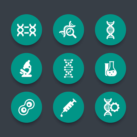 replication: genetics icons, dna chain sign, genetic modification, dna replication, genetic research, laboratory, green round icons set,  illustration