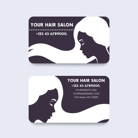 Business card design for hair salon with long haired girl, illustration