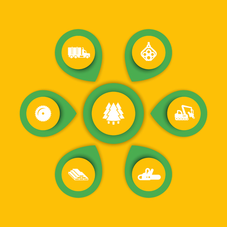 logging: Logging icons, timber, logging truck, tree harvester, wood, lumber, logging, timber infographic elements, icons, illustration