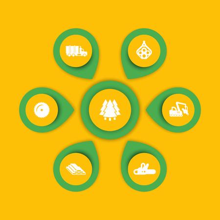 harvester: Logging icons, timber, logging truck, tree harvester, wood, lumber, logging, timber infographic elements, icons, illustration