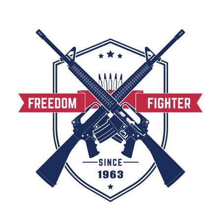 gun control: Freedom fighter, vintage t-shirt design with american assault rifles, automatic guns isolated over white, illustration Illustration