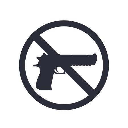 gun silhouette: no guns sign with powerful pistol, gun silhouette, no weapons allowed, illustration Illustration