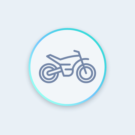 offroad bike, motorcycle line icon, motocross pictogram, sign, round stylish icon,  illustration