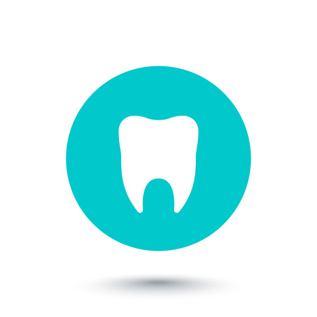 toothcare: Stomatology, tooth round icon, tooth pictogram,  illustration