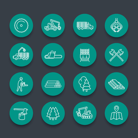 logging: Logging, sawmill, forestry equipment line icons, logging truck, tree harvester, timber, lumberjack, wood, lumber, green round icons set, illustration Illustration