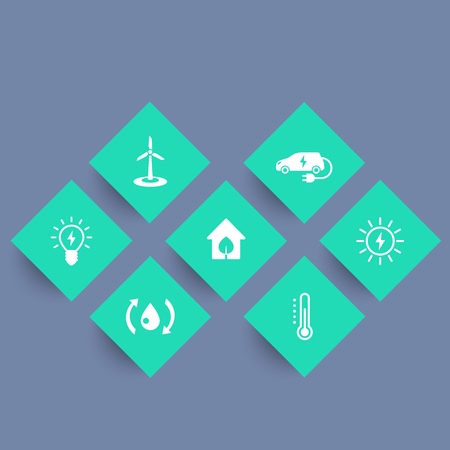 ecologic: Green ecologic house icons, ecofriendly solutions, energy saving technologies, geometric icons set,  illustration
