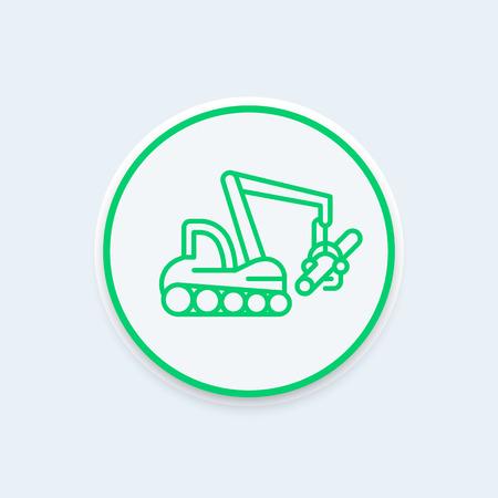 timber harvesting: Forest harvester line icon on round shape, timber harvesting machine, tree harvester linear sign,  illustration