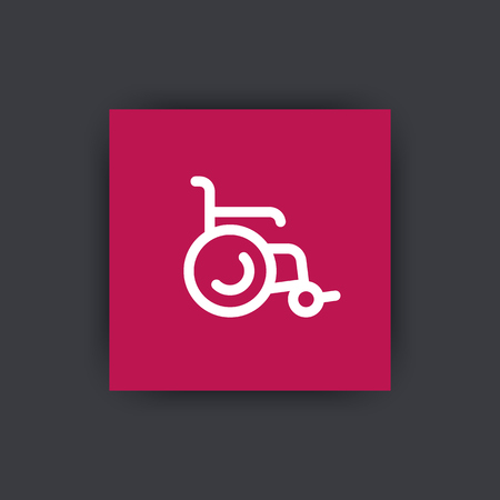 physical impairment: wheelchair icon, wheelchair sign, pictogram, line icon on square, illustration Illustration