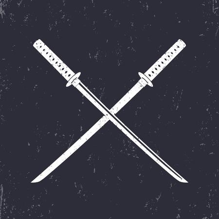cold cuts: crossed traditional japanese swords, katana,  illustration