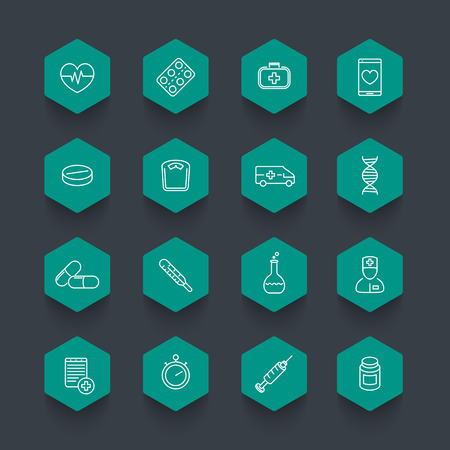 preventive: medicine icons, health care, pills, drugs pictograms, line hexagon icons, illustration