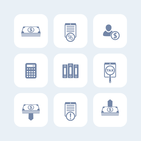 bookkeeping: Bookkeeping, finance, payroll icons isolated on white, payroll pictogram, bookkeeping sign, illustration