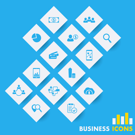 rhombic: 14 business, finance, commerce icons on rhombic shapes, illustration