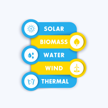 production of energy: Alternative energy sources, modern green energetics, solar, wind, geothermal energy production, infographics template elements, icons, illustration
