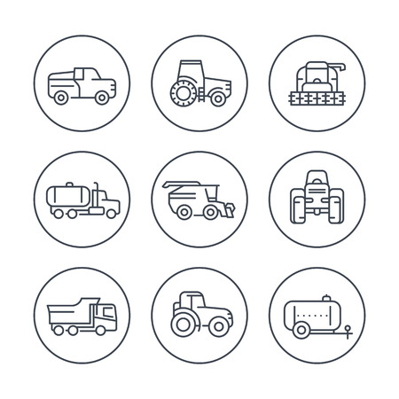 harvesting: Agricultural machinery line icons in circles, tractor, harvester, agricultural vehicles, harvesting combine, truck, pickup icons, illustration
