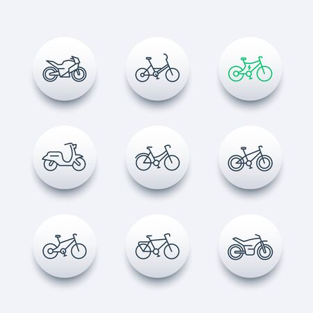 Bikes line icons set, bicycle, cycling, motorcycle, motorbike, fat bike, scooter, electric bike, round modern icons, illustration