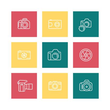 slr camera: camera, photography line icons, dslr, aperture, slr camera square icons isolated on white, illustration Illustration