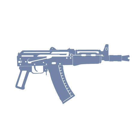 ak 74: Soviet automatic carbine, shortened assault rifle, russian automatic gun isolated on white, illustration