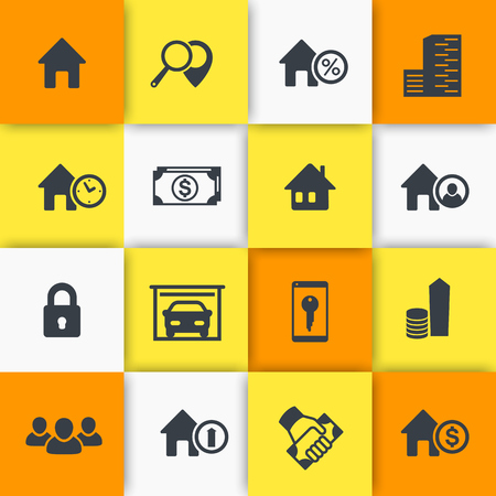 occupant: Real estate icons, house sale, search, real estate signs, apartments, homes for rent, illustration