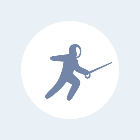 fencing foil: Fencing icon, fencer with foil pictogram, isolated icon, illustration Illustration