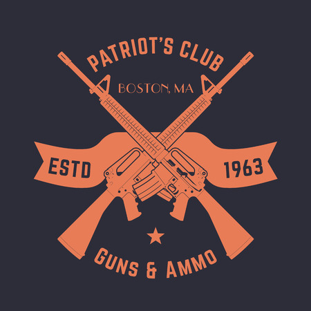 m16 ammo: Patriots club vintage logo with crossed automatic guns, gun shop sign with assault rifles, gun store emblem, illustration